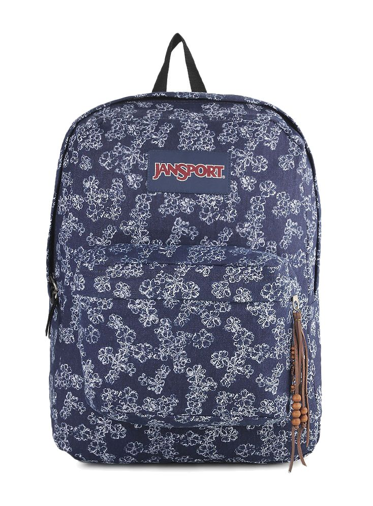 High Stakes Itsy Ditzy Denim Backpack by Jansport. Premium fabric for superior durability and unique texture, one large main compartment, straight-cut, padded shoulder straps, front utility pocket with organizer, padded back panel, web haul handle.  http://www.zocko.com/z/JGjEj