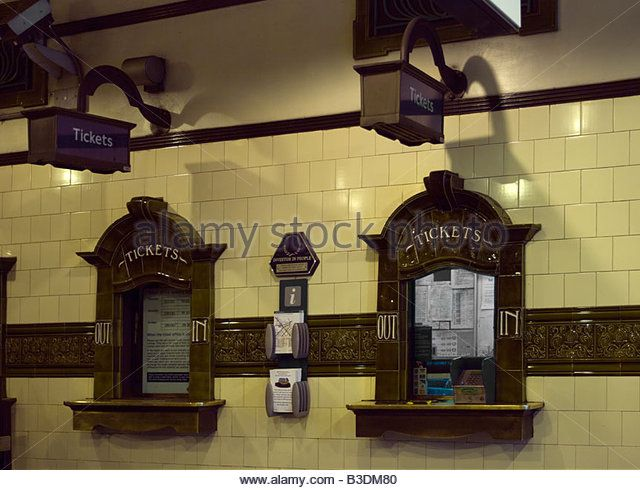 Edgware Road Underground Station old fashioned ticket counter London - Stock Image