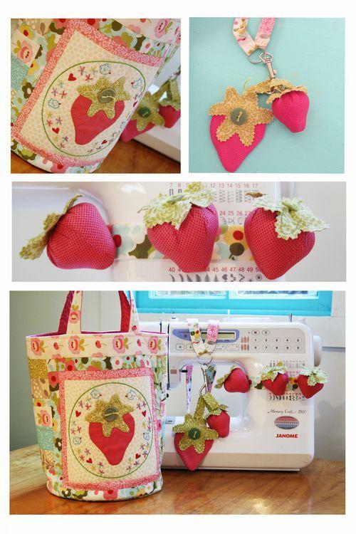 Strawberry Frenzy sewing trio   NR57