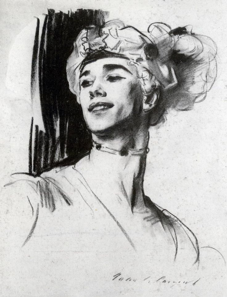 Ballet babe Vaslav Nijinsky, howdy'do? This rendering done by John Singer Sargent in 1911 depicts the famous dancer and choreographer.
