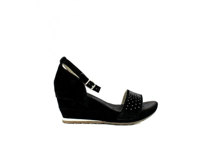 Saio Nero   Sandal in real suede. Adjustable strap, rubber sole and wrapped wedge 7cm high