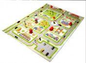 IVI Little Helper Hypo-Allergenic 3D Children's Play Mat and Rug (160 x 230 cm, Green, Town Traffic)