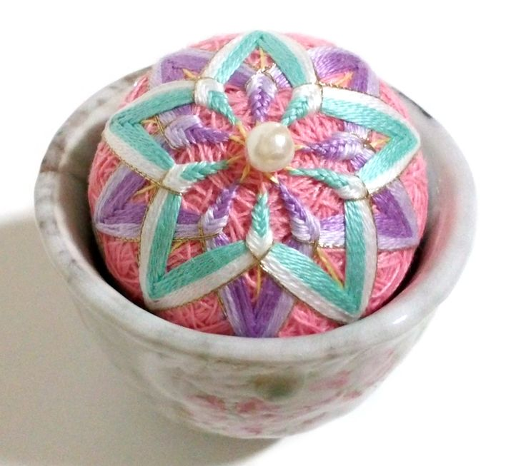 Tea Cup Pincushion by Korean traditional little ball embroidery