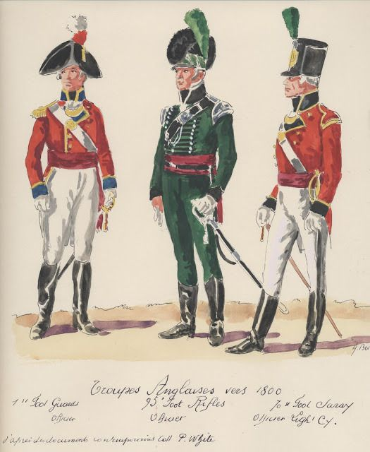 Troupes Anglaises ; vers 1800 . First Foot Guard Officer, 95th,Foot Rifles officer, 70th,Foot Suray officer Light Cie.