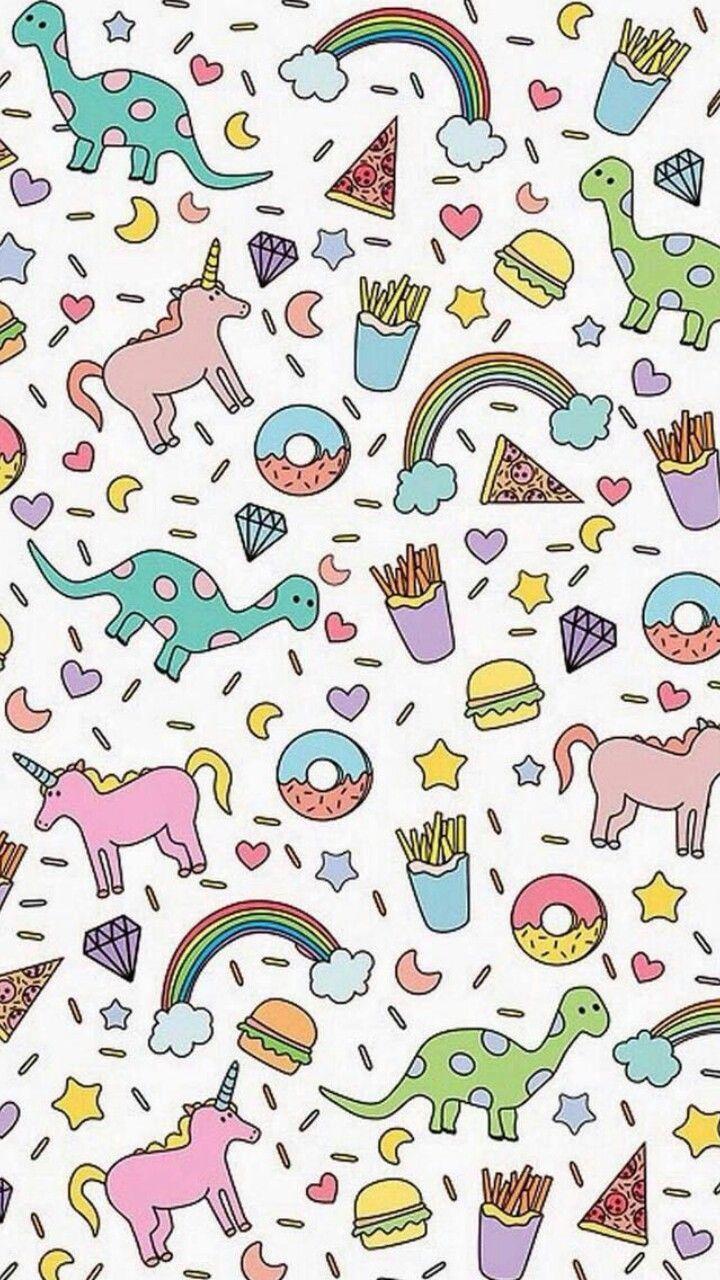 Cartoon Pizza Background In 2020 Dinosaur Wallpaper Unicorn Wallpaper Wallpaper