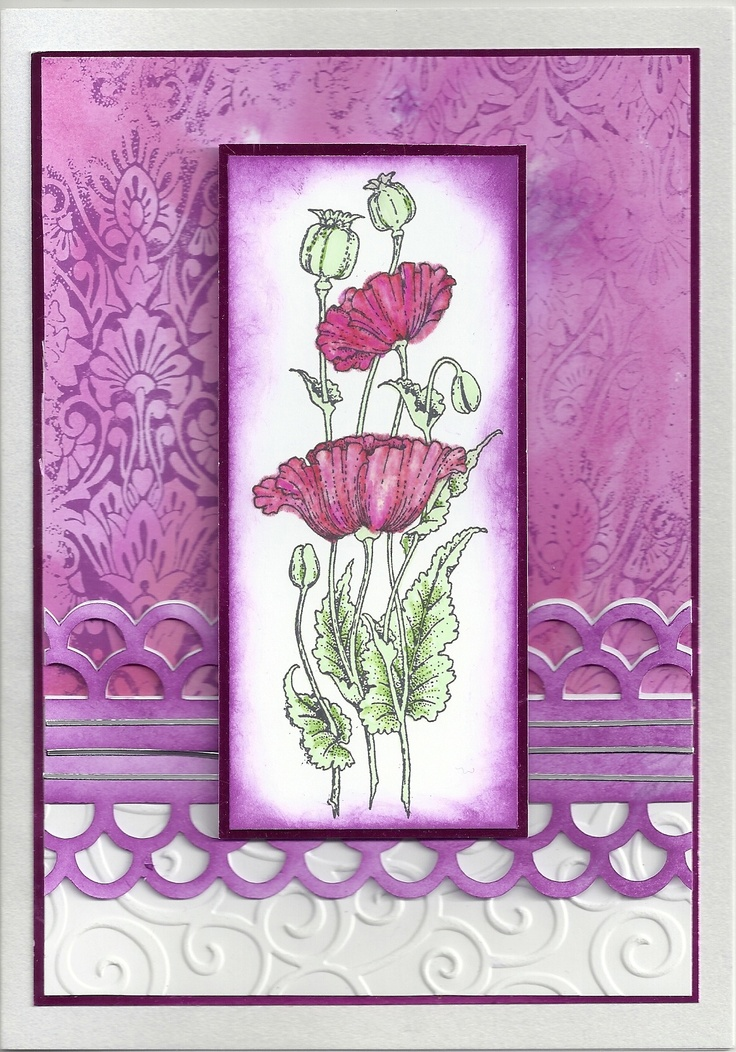 Chocolate Baroque stamps used: Pretty Poppies and Dusky Damask sets