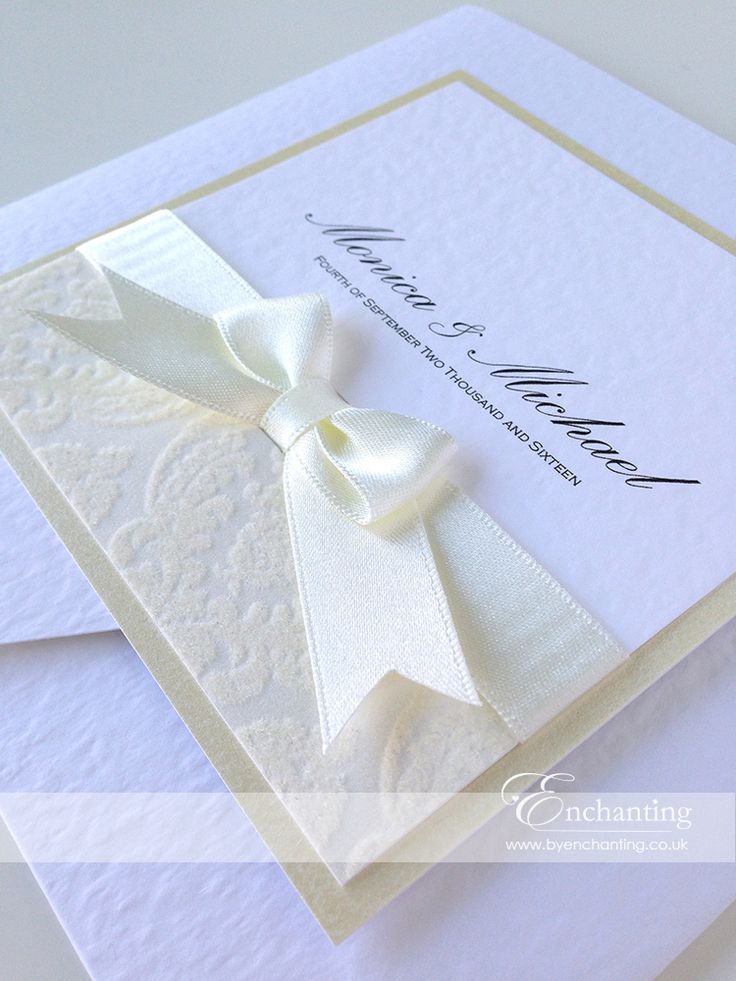 wedding invitations from michaels crafts%0A Monica  u     Michael opted for some beautiful ivory flock wedding invites from  the Anna Collection  featuring a sumptuous ivory bow and ivory flock paper