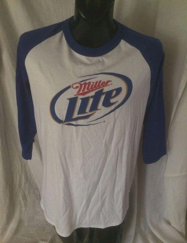 Miller Lite Retro 80s Raglan T Shirt Size L 3 4 Length