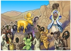 """Exodus 32:1-24 -Exodus 32 - Golden Calf   When Moses failed to come back down the mountain right away, the people went to Aaron. """"Look,"""" they said, """"make us some gods who can lead us. This man Moses, who brought us here from Egypt, has disappeared. We don't know what has happened to him."""""""