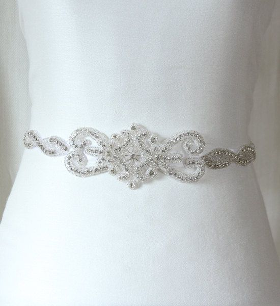 Bridal accessories wedding sashes, rhinestone bridal sash, beaded sash. $125.00, via Etsy.