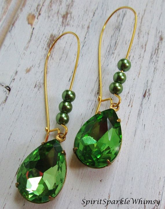 Green Rhinestone Earrings Emerald Earrings by SpiritSparkleWhimsy