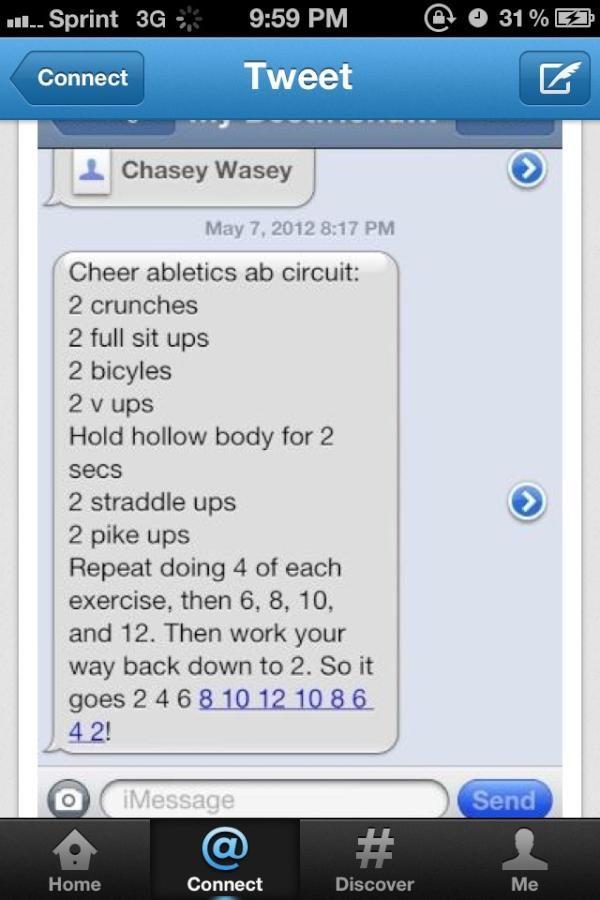 Twitter / CAjamieandries: @sarakalgren the cheer able tics workout OFFICIAL