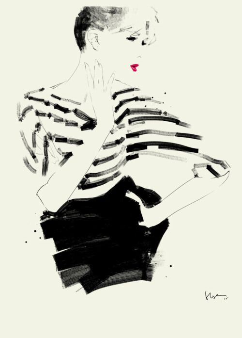 Monochrome fashion illustration with a cool use of mark-making // Floyd Grey