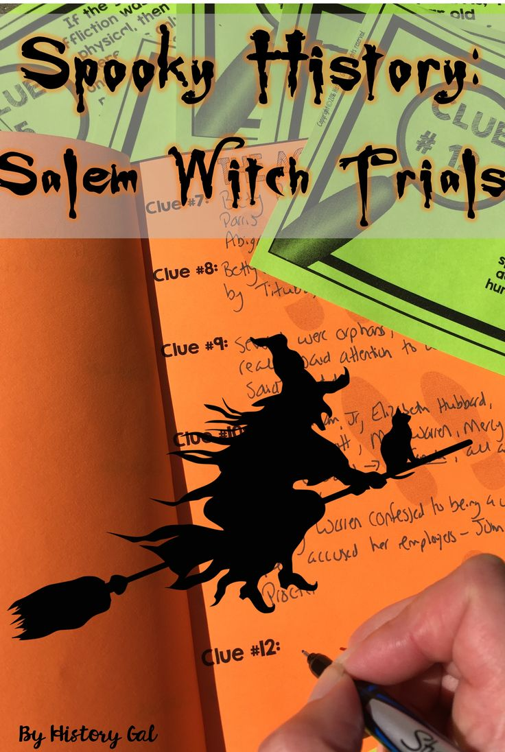 Middle and High School students will act as detectives to research the Salem Witch Trials for the family of one of the accused villagers, Rebecca Nurse. Students will first create a detective notebook and then search for clues scattered around the classroom. As they find more clues, students will start to unravel the mysterious Salem Witch Trials and ultimately determine whether or not there were really witches in 1693 Salem, Massachusetts.  Great for 6th, 7th, 8th, 9th, 10th, or 11th grade…