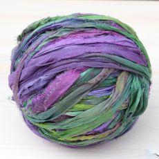 Jedwabne pasmo sari zielono-fioletowe [3m]