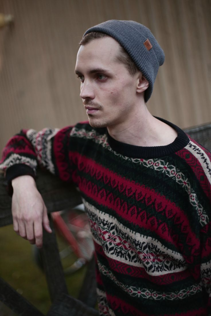 Wool Beanie for Men. Men's Casual Cardigan and Beanie outfit for Fall . Eco friendly clothing.