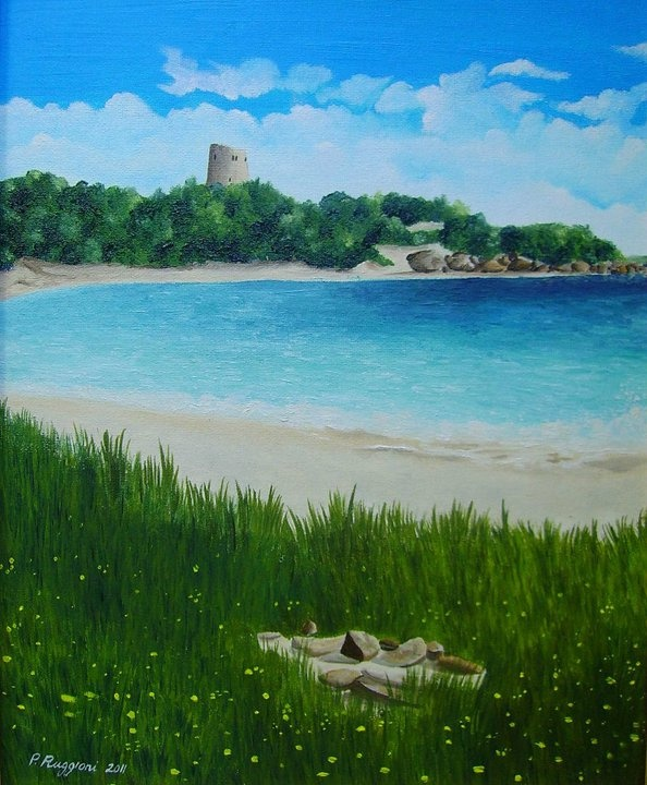 """Breeze in Cala Pira   oil on canvas panel 24"""" x 30"""""""