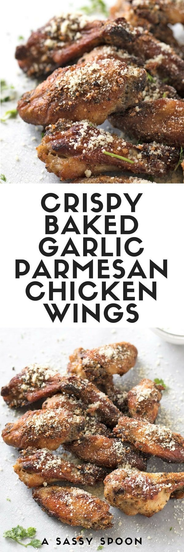 Easy-to-make, crispy oven baked garlic parmesan chicken wings that are so tasty, you will think they're fried! via @asassyspoon