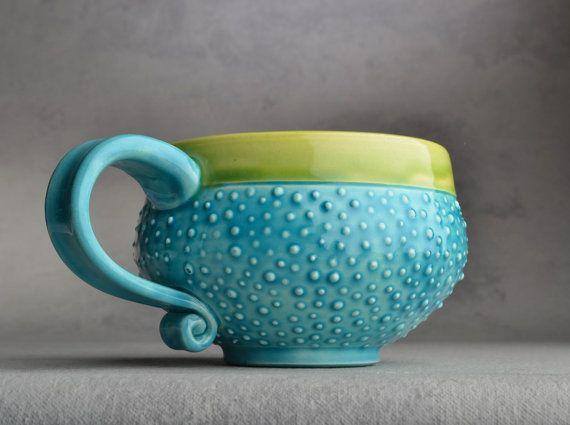 Dottie Mug Made To Order Caribbean Blue by symmetricalpottery, $20.00