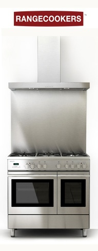 "The Rangecookers Select 90df range cooker shown here with a modern stainless steel ""slab"" style hood and splashback."