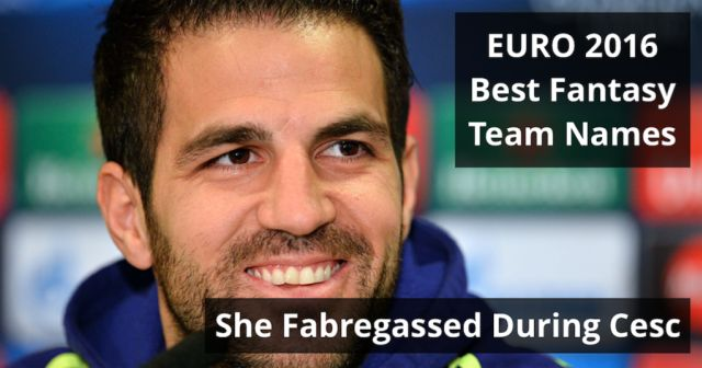 101 of the funniest & best Euro 2016 Fantasy Football team names