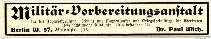 Original-Werbung/ Anzeige 1915 - MILITÄR - VORBEREITUNGS - ANSTALT BERLIN / ULICH - ca. 115 x 20 mm