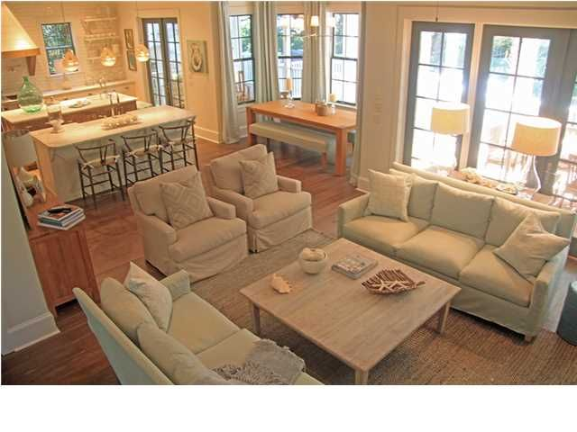 Open concept layout love the dining nook would be Open floor plan living room furniture arrangement