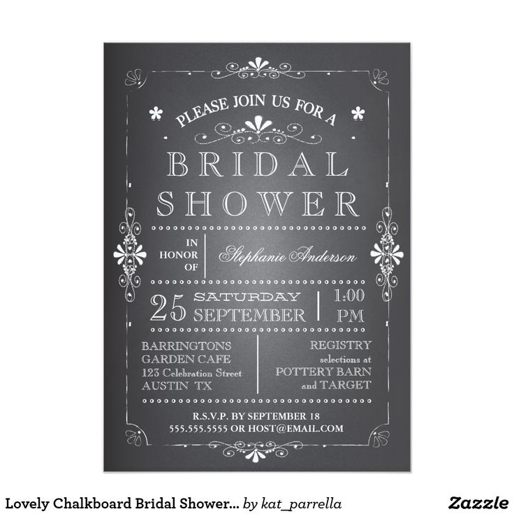 blank beach bridal shower invitations%0A Lovely Chalkboard Bridal Shower Invitation