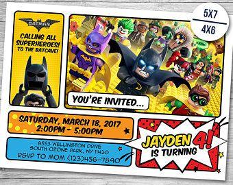 Invitación de Lego Batman, Lego Batman cumpleaños, fiesta de Lego Batman, Lego Batman película invitar, Lego imprimibles invitaciones, invitaciones para imprimir
