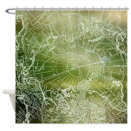 Forest Green Map Shower Curtain   Fabric ,Vintage Arctic Map   Home Decor    Bathroom   Green, Earth Tones, Unique