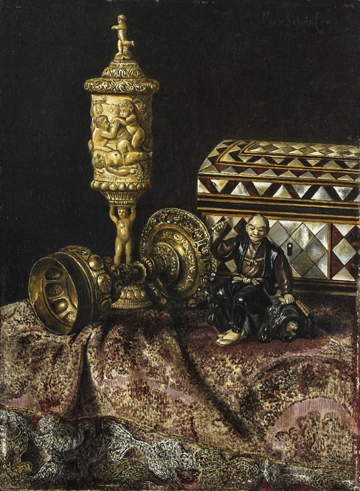 Max Schödl (1834-1921) — Still Life with Japanese and Western Artifacts, 1890 (733x1000)