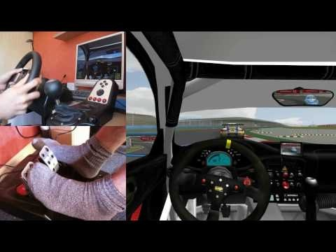 Heel toe racing using a gaming steering wheel and pedal set driving a stick shift. Wish I was this good! This guy has it sorted.