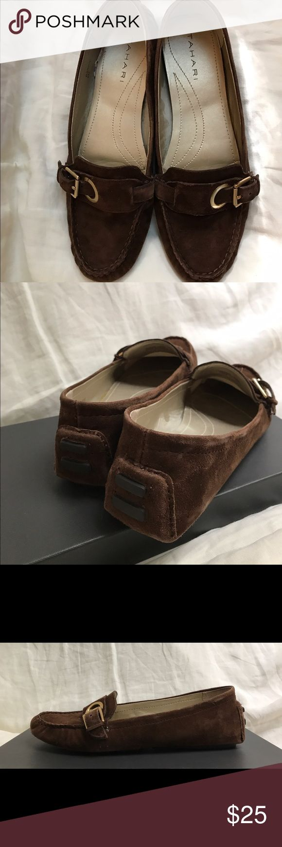 New in box Tahari brown suede loafers. Comfortable and stylish Tahari loafers. Perfect chocolate brown suede with buckle detail on front and driving detail at heel Tahari Shoes Flats & Loafers