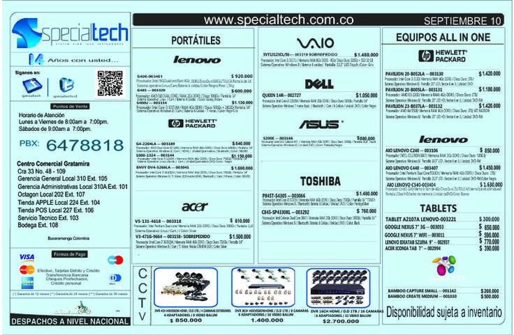 Listado de precios specialtech 10 de septiembre 2013