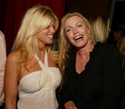 Donna D'Errico and Shannon Tweed at the Gene Simmons' 'Tongue Magazine' release party at Barfly in West Hollywood Ca Tuesday June 11 2002 Photo by...