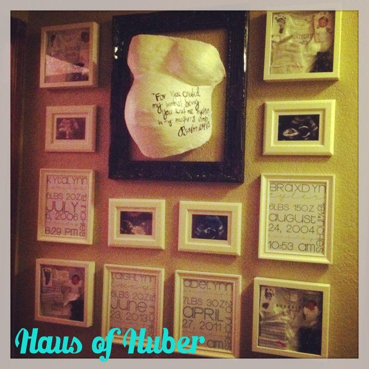 Baby Gallery Wall: birth stats subway art, ultrasound, hospital keepsake shadow box, and belly cast Psalm 139:13