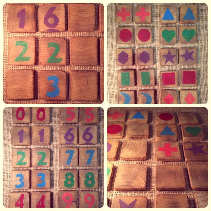 Memory matching game.  Hand crafted rustic tiles made from reclaimed timber, which are individually cut to size and sanded to give an extremely smooth finish. Helps develop colour identification, simple matching skills, hand-eye coordination and number recognition.   Each set contains 20 tiles Either: 10 different shapes (5 colours) or  0-9 numbers (5 colours)  Match colours, numbers or shapes! $26