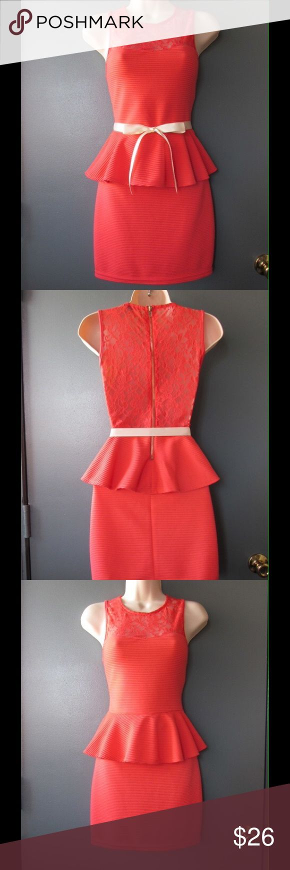 Dark Coral Peplum Dress W/Lace Applications & Belt NWT. This dress is rally soft and comfy. Semi-Stretchy. Zipper on the back. Belt included. Size medium. Save $$$ on bundles. Charlotte Russe Dresses Mini