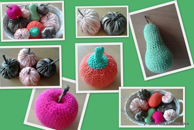 Crochet fruits, pumpkin and pumpkin from velvet