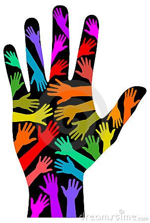 LGBT Symbols Clip Art | illustration of multicolored hands against a brilliant blue handprint ...
