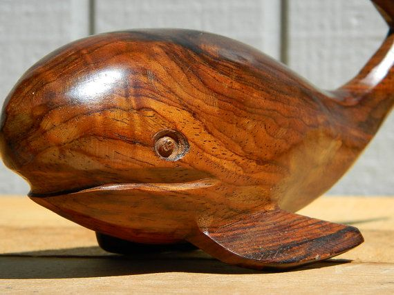 Vintage wooden hand carved whale home decor by