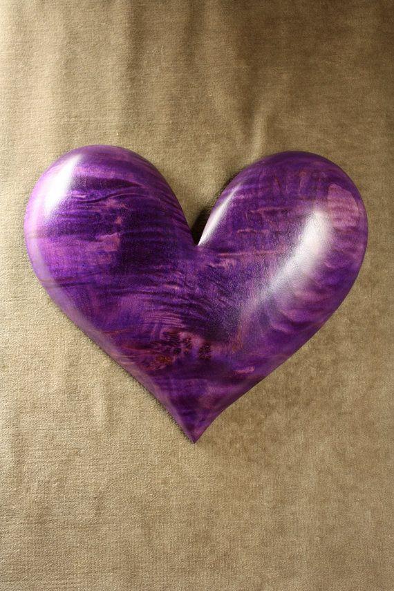 Purple Hearts Wedding Personalized Heart Woo...
