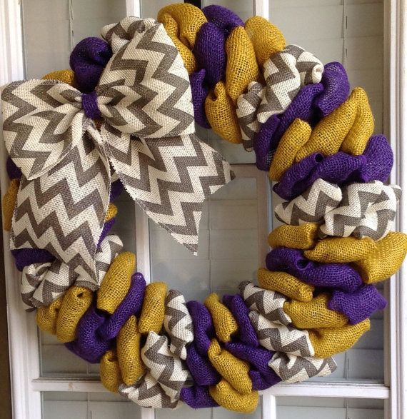 Burlap wreath  LSU Wreath  LSU Tigers  LSU Decor  by JnSMDesigns