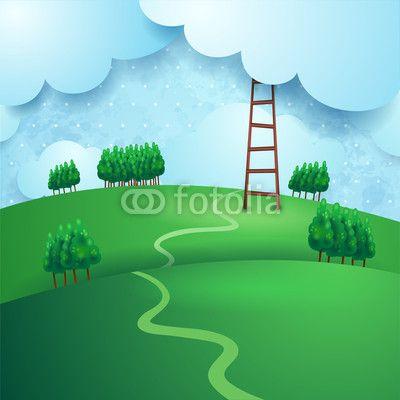 #Countryside, fantasy illustration #vector #stockimage