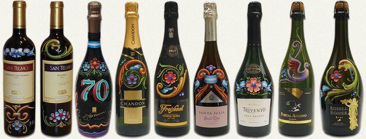 Las botellas pintadas a mano por Alfredo Genovese, se realizan a pedido. Consultar valores.