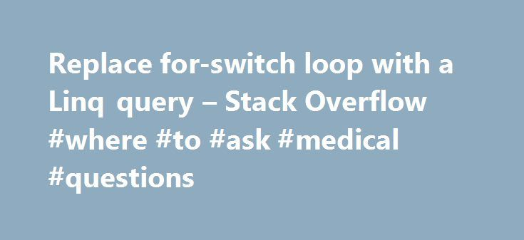 Replace for-switch loop with a Linq query – Stack Overflow #where #to #ask #medical #questions http://ask.remmont.com/replace-for-switch-loop-with-a-linq-query-stack-overflow-where-to-ask-medical-questions/  #ask jeees # Replace for-switch loop with a Linq query I have a Message object which wraps a message format I do not have control over. The format is a simple list of Key/Value pairs. I want to extract a…Continue Reading