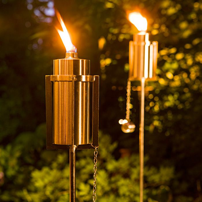 Tiki torches with a contemporary twist! Keep pesky bugs away with sleek stainless-steel citronella torches.