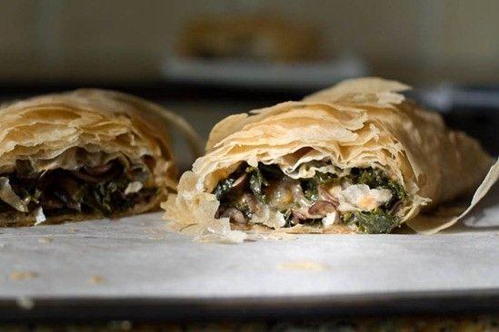 Delightfully flaky, veggie stuffed Mushroom and Kale Phyllo Roll-ups. #pastry #phyllo #kale #mushroom #vegetarian #vegan #dinner