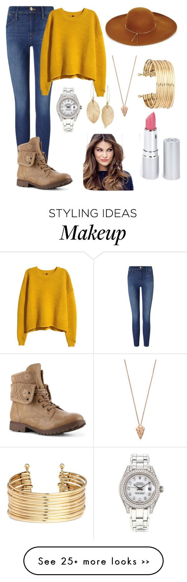 """I know it's mustard but it's cute"" by emilystoneman on Polyvore featuring Frame Denim, H&M, BCBGMAXAZRIA, Rolex, Pamela Love, HoneyBee Gardens, ULTA and Lulu*s:"