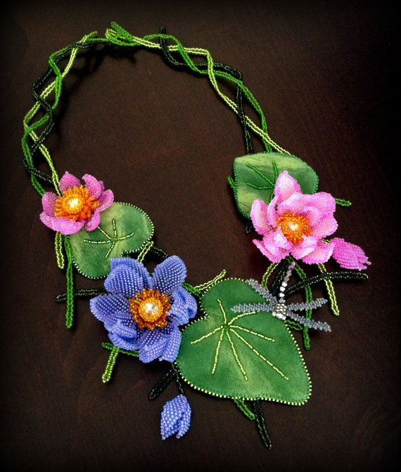 Beaded necklace with lotuses, lily pads and dragonfly by Gemsplusleather